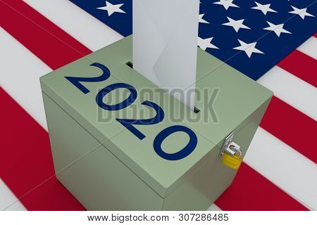 3d Illustration Of 2020 Script On A Ballot Box, With Us Flag As A Background.