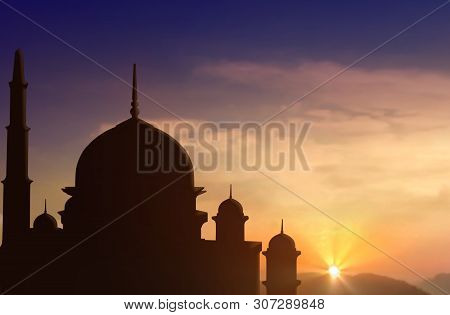 Mosque Silhouette During Sunset Under Cloudy Sky