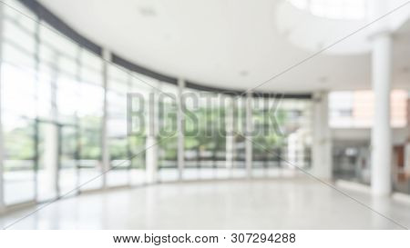 Office Building Or University Lobby Hall Blur Background With Blurry School Hallway Corridor Interio