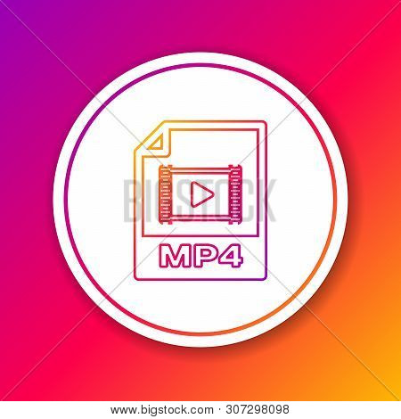 Color Mp4 File Document Icon. Download Mp4 Button Line Icon Isolated On Color Background. Mp4 File S