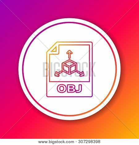 Color Obj File Document Icon. Download Obj Button Line Icon Isolated On Color Background. Obj File S