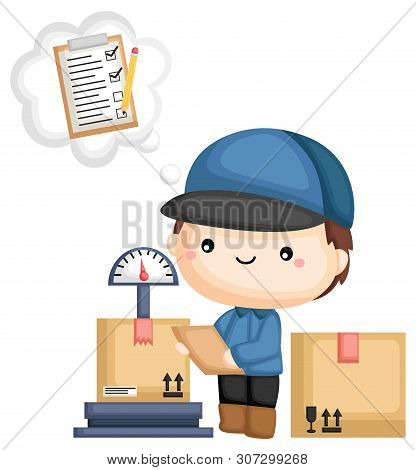 A Vector Of A Delivery Man Managing His Package With A Checklist
