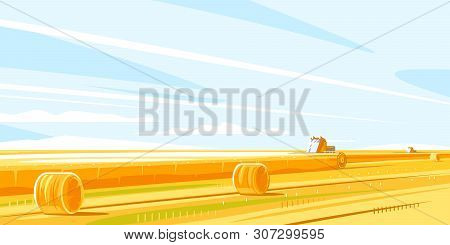 Combines Harvesting Wheat Fields, Autumn Rural Landscape With Harvesting Machines And Haystacks, Dri