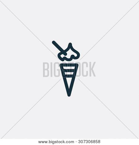 Valentine Day Sweet Icecream Icon. Romantic Design Elements Isolated. Thin Line Version. Vector Illu
