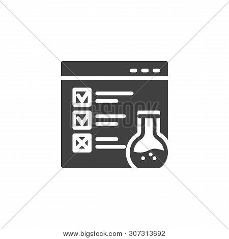 Website Functional Testing Vector Icon. Filled Flat Sign For Mobile Concept And Web Design. Browser