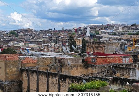 view over old town of Fes  in Morocco poster