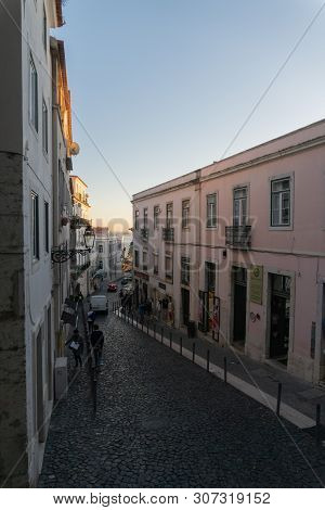 Lisbon, Portugal - November 13,2017 : Street View From A Hill In The Alfama Neighborhood In Lisbon,