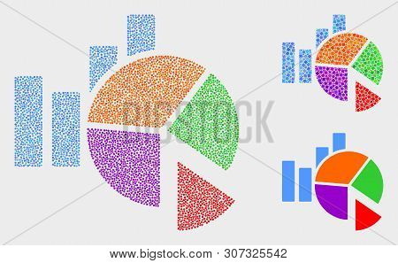 Dot And Mosaic Statistics Charts Icons. Vector Icon Of Statistics Charts Created Of Scattered Circle