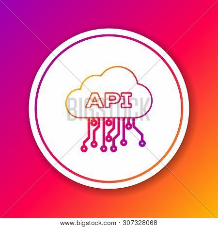 Color Cloud Api Interface Line Icon Isolated On Color Background. Application Programming Interface