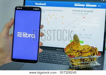 Chiang Mai,thailand - June 20,2019: Libra Facebook Cryptocurrency And Bitcoin Cryptocurrency, Libra