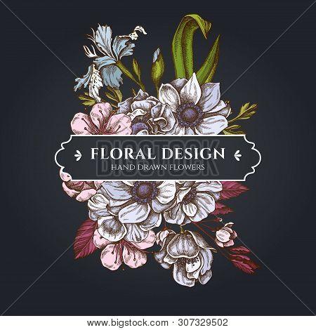 Floral Bouquet Dark Design With Anemone, Iris Japonica, Sakura