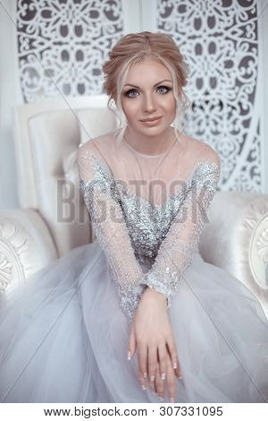Beauty Portrait Of Bride Wearing Fashion Wedding Dress. Elegant Fiancee With Make-up And Hairstyle P