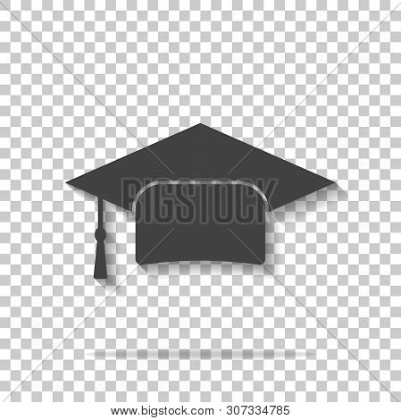 Graduation Cap Vector Icon. Hight School Symbol On Transparent Background. Layers Grouped For Easy E