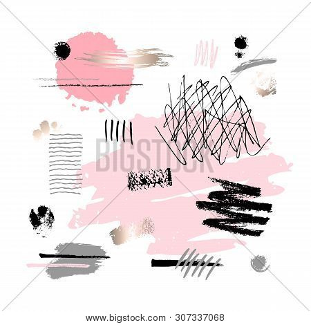 Abstract Poster Pastel Makeup Strokes. Set Beauty Cosmetic Nude Brush Stains Smear Make Up Lines Col