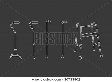 Set of walking sticks