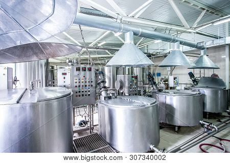 Steel New Pipelines And Vats On Milk Factory