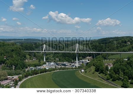 Horizontal View Of The Modern Poya Bridge In The Historic Swiss City Of Fribourg