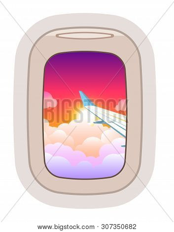 Aairplane Window Vector Traveling By Plane And Porthole View In Flight Illustration Tourism Set Of W