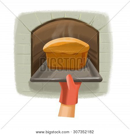 Take Out The Pan With A Loaf Of Bread From The Oven