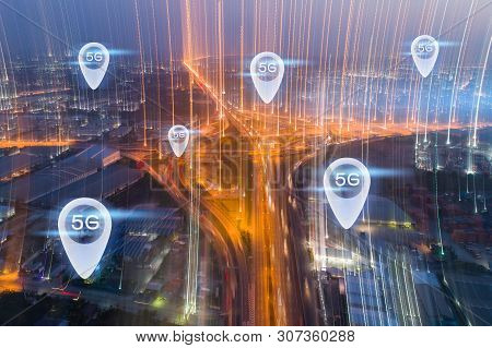 5g Internet Of Think Communication Concept. Aerial View Night Expressway, Toll Way, Highway, Roads I
