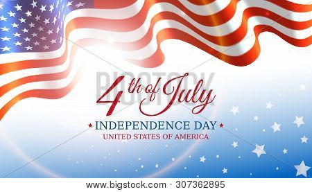 Poster 4th Of July Usa Independence Day, Vector Template With American Flag And Shining Sun On Blue