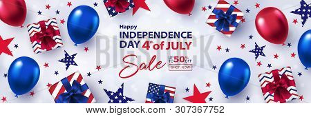 Fourth Of July Sale Long Horizontal Banner. 4th Of July Holiday Background. Usa Independence Day Des