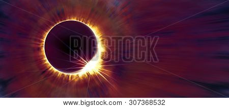 Amazing Scientific Background - Total Solar Eclipse In Dark Red Glowing Sky, Mysterious Natural Phen