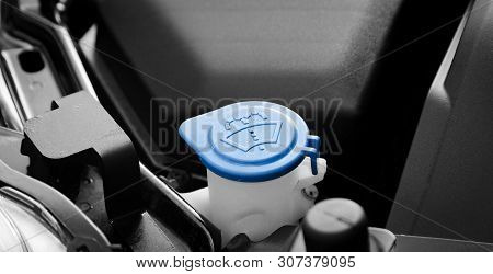 Car Windshield Wiper Cleaning Spray Water Reservoir  Blue Bottle Cap With Clear And Communicative Pi