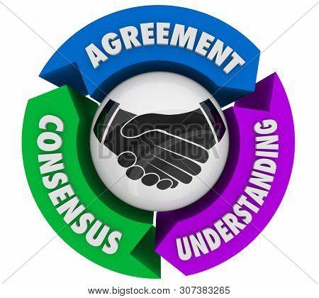 Handshake Agreement Shaking Hands Understanding Consensus 3d Illustration