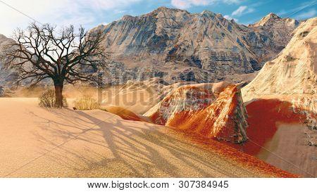 Solitary dead tree in desert 3d illustration