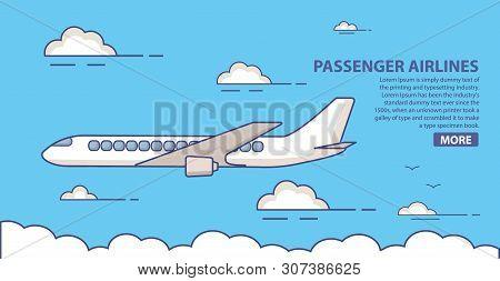 Passenger Airlines. Jet Plane  Blue Sky Civil Aviation Airliner.commercial Airliner Travel.poster Fl