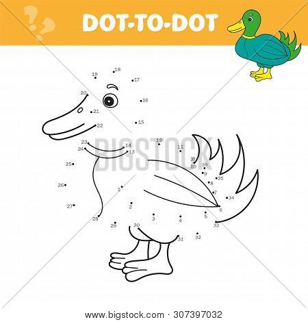 Numbers Game For Children, Dot To Dot Education Game. Connect The Dots And Draw Cute Cartoon Duck. E