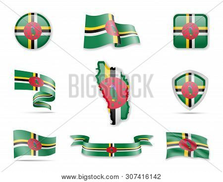 Dominica Flags Collection. Vector Illustration Set Flags And Outline Of The Country.