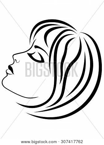 Abstract Charming And Sensual Woman Looking Down, Black Vector Hand Drawing On The White Background