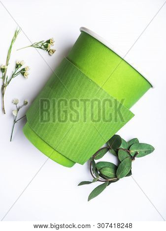 Disposable Green Paper Cup Isolated. Clipping Path - Image
