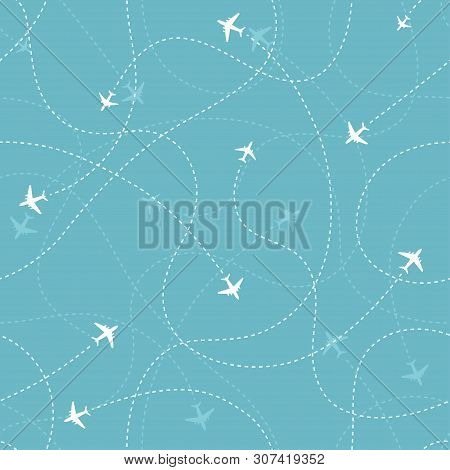 Aircraft Destinations With Planes Icons On Blue Background. Abstract Seamless Pattern. Vector  Illus