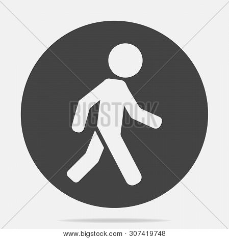 Vector Icon Of A Walking Pedestrian. Illustration Of A Walking Man On A Gray Background