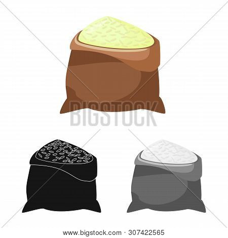 Isolated Object Of Bag And Rice Sign. Set Of Bag And Wholesale Stock Vector Illustration.