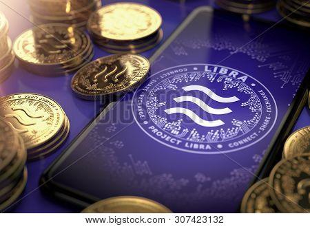 Libra Concept Coin Design On-screen And Laying Golden Libra Concept Coins. Libra Cryptocurrency In E