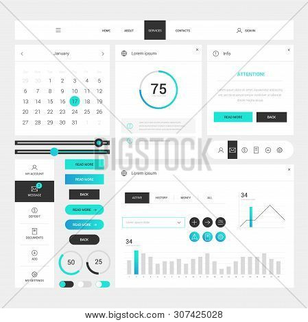 Modern Web Design Elements Frame Template On White Background. Web Elements With Navigation, Buttons