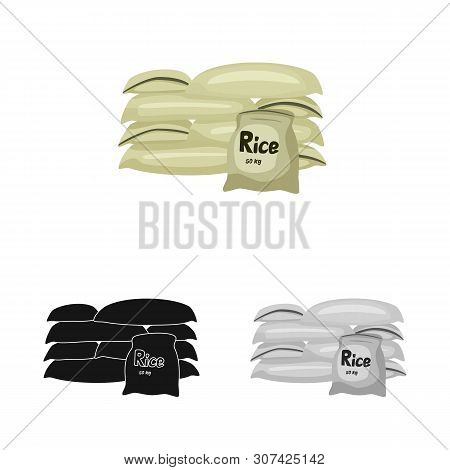 Vector Illustration Of Bag And Rice Icon. Set Of Bag And Wholesale Vector Icon For Stock.