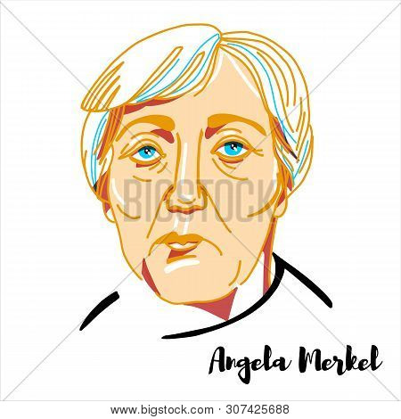 Angela Merkel Engraved Vector Portrait With Ink Contours. German Politician Serving As Chancellor Of