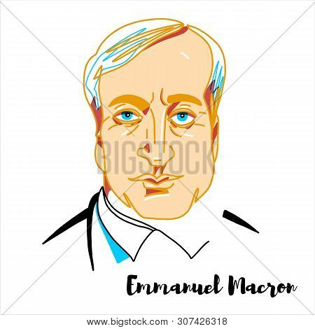 Emmanuel Macron Engraved Vector Portrait With Ink Contours. French Politician Serving As President O