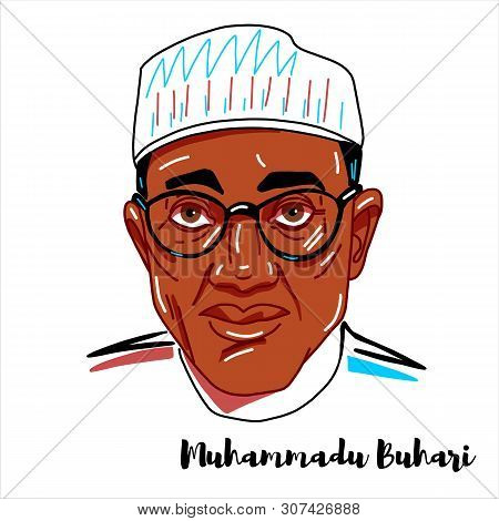 Muhammadu Buhari Engraved Vector Portrait With Ink Contours. Nigerian Politician Currently Serving A