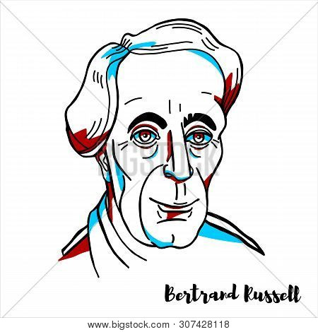 Bertrand Russell Engraved Vector Portrait With Ink Contours. British Philosopher, Logician, Mathemat