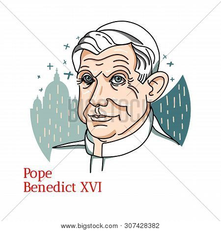 Pope Benedict Xvi Color Vector Portrait With Black Contours. The Head Of The Church And Sovereign Of