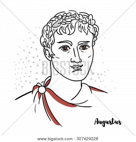 Augustus Flat Colored Vector Portrait With Black Contours. Roman Statesman And Military Leader Who W