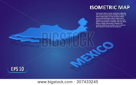 Isometric Map Of The Indonesia. Stylized Flat Map Of The Country On Blue Background. Modern Isometri