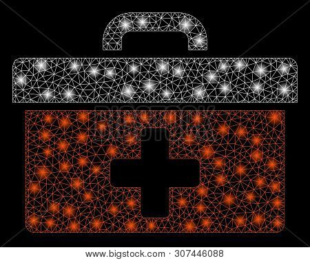 Glossy Mesh First Aid Toolbox With Glare Effect. Abstract Illuminated Model Of First Aid Toolbox Ico