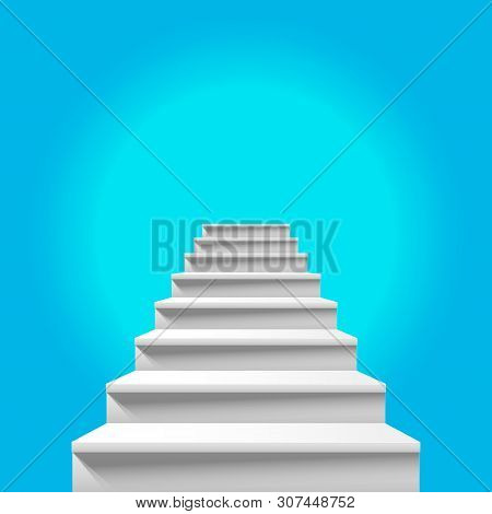 Stairway To Heaven. White Staircase Leading Up To Heavenly Blue Sky. Way To God, Way To Paradise. He